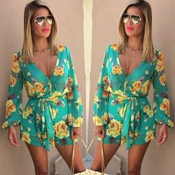 DCCKFV3 Fashion Women Playsuits Beach Jumpsuit 2017 Womens Rompers Bohemian Floral Print Bow Ruffles Long Sleeve Casual V neck