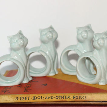 Cat Napkin Rings Glazed Ceramic Light Blue Set 4 | Gift for Cat Lover | Light Blue Napkin Rings Cat Shape | Cats Looking Up | Napkin Holders