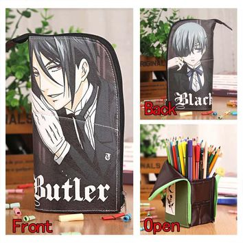 Anime Black Butler Sebastian&Ciel Waterproof PU Stationery Pouch/Brush Pot/Pen Holder/Pencil Case Bag/Office School Supplies