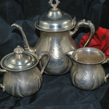 Silver Tea Set New Amsterdam Co , Quadruple Silver Plate , Pewter Set for Tea