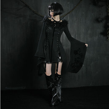 PUNK RAVE Gothic style black slim long coat with kimono sleeves Y-326