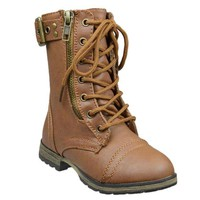 Kids Mid Calf Boots Buckle Accent Lace Up Combat Boots Tan