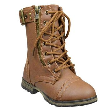 DCK7YE Kids Mid Calf Boots Buckle Accent Lace Up Combat Boots Tan
