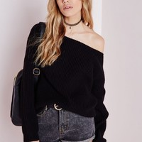 OFF SHOULDER KNITTED JUMPER BLACK