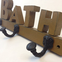 Rustic Wood Bathroom BATH Cast Iron Hooks Wall Hanging, Towel Rack, Shabby Chic