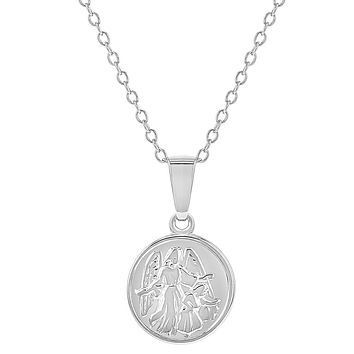 925 Sterling Silver Little Guardian Angel Catholic Medal Necklace Pendant 16""