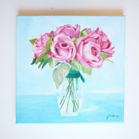 Original Oil Painting - Pink Roses in vase