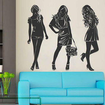 kik3006 Fashion Wall Decal Lady Vinyl Sticker Woman Vinyl Wall Decals Beauty Salon Girls Hair Salon Wall Decal Fashion Girls Room Decor