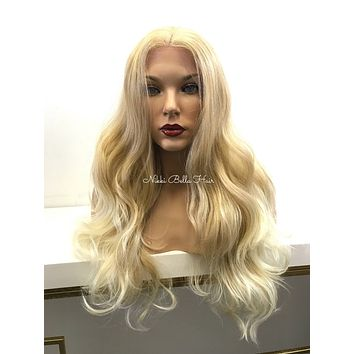 Light Blond Human Hair Blend Deep Real Hair Part Lace Front Wig -  Pam