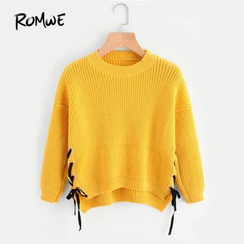 Eyelet Lace Up Side Dip Hem Sweater Autumn Yellow Round Neck Pullovers Long Sleeve Casual Loose Sweater