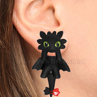 Toothless How To Train Your Dragon Handmade Clinging  Earrings