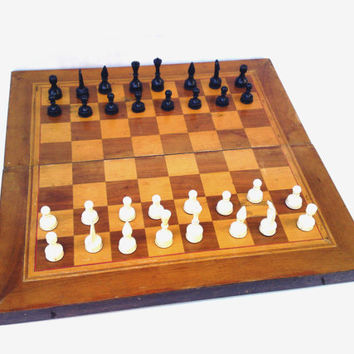 Vintage wooden chess board game backgammon board game soviet union chess gift for him USSR collectible rustic home decor portable board game