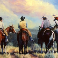 Board Meeting  Cowboy Painting Painting by Kim Corpany - Board Meeting  Cowboy Painting Fine Art Prints and Posters for Sale