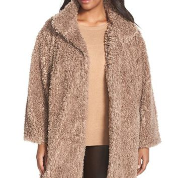 Plus Size Women's Gallery 'Teddy' Faux Fur Coat,