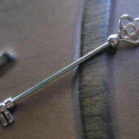 Skeleton Key Industrial Barbell Silver Surgical Steel Finish 14 Gauge Scaffold Piercing Bar Antique