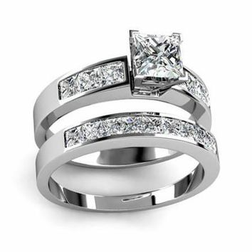 1.80Ct. Princess Cut Diamond Engagement Ring Set (Bridal Set)