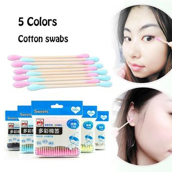 100 Pcs/lot Cotton Swabs Stick Candy Color Makeup Tools Health Care Cotton Tipped Makeup Tools Cotton Buds Pink Blue Yellow T20