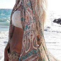 Boho Inspired Chiffon Beach Cover Up Cape