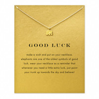 Good Luck Elephant 18k Gold Dipped Pendant Necklace with Card