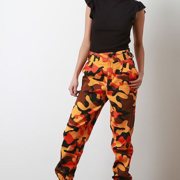 Camouflage Side D-Ring Cargo Pants