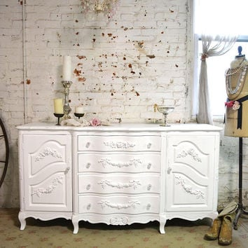 Painted Cottage Chic Shabby White Romantic French Server/ Buffet SV606