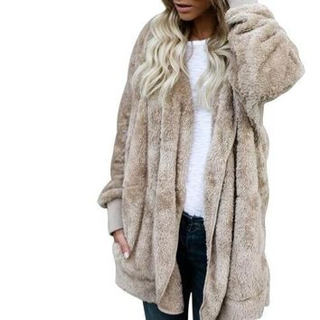 Khaki Fuzzy Fleece Long Cozy Hooded Jacket with Pockets