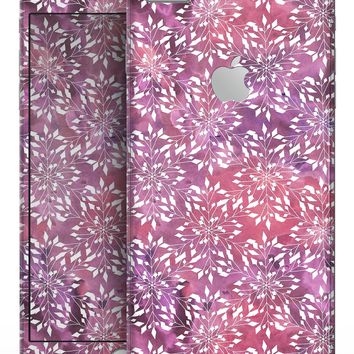 Red and Purple Paint Mix with White Snowflakes  - Skin-kit for the iPhone 8 or 8 Plus