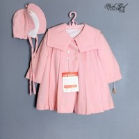 1950's Girls Pink Swing Coat & Matching Bonnet ANTIQUE BABY CLOTHING & VINTAGE KIDS CLOTHES :