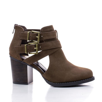 Scribe Brown By Soda, Round Toe Dual Buckle Side Cut Out Block Stacked Heel Ankle Bootie