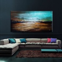 Acrylic Modern Art. Abstract Painting Teal Turquoise Painting on Canvas, Extra Large Wall Art, Contemporary Home Decor by Nandita Albrigjht