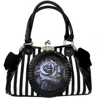 Black Rose Clutch Hand Bag Gothic Lolita Stripe Purse Black & White