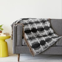 Black and White Fleur de Lis Motif Pattern Blanket