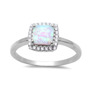 Sterling Silver Square White Created Opal Halo Ring