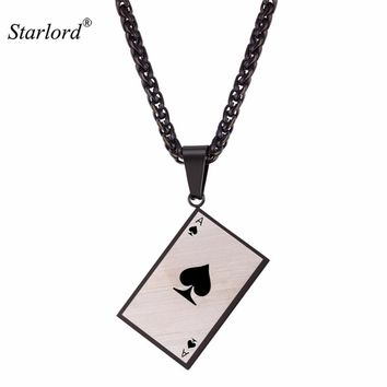 Starlord Men's Poker Charm Pendant Necklace For Poker Lover