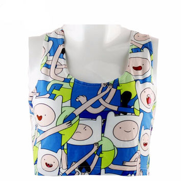 Adventure Time Women crop tops Fashion tank tops punk camisole Tee shirt cap vest