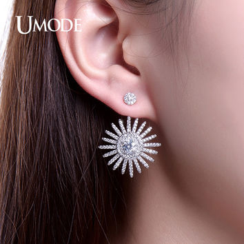 UMODE Fashion Jewelry White Gold Color Stud Earrings Ear Cuff For Women Adjustable Jacket Piercing Earring Jewelry Aros UE0224