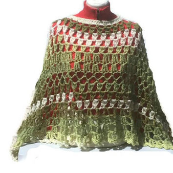 Avocado Poncho Shawl Circular Asymmetric Handcrocheted Unbalanced Handmade Poncho In Shades of Green