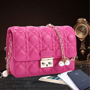 Stylish One Shoulder Leather Pearls Chain Bags Messenger Bags [6582052167]