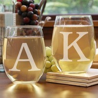 Engraved Initials Couples Glass Set