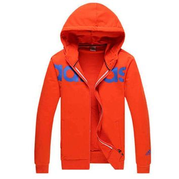 Adidas Women Men Trending Casual Print Hooded Zip Cardigan Jacket Coat Sweatshirt Orange Red