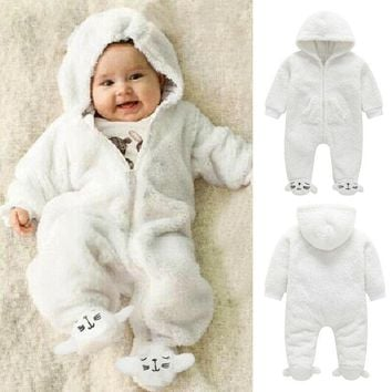 Newborn Baby Girl Boy Fall Winter Fuzzy Romper Bodysuit Jumpsuit Hoodies Clothes