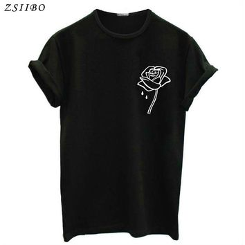 ZSIIBO Rose Flower Pocket Print Women Tshirt Casual Funny T Shirt For Lady Top Tee Plus Size Hipster Tumblr Drop Ship BTS