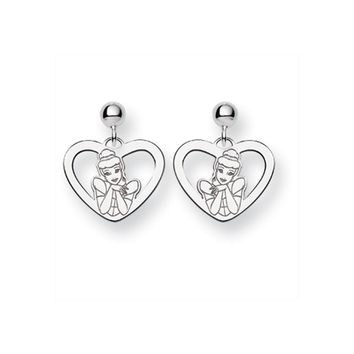 Disney's Cinderella Heart Post Earrings in Sterling Silver