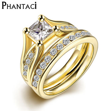 2 PCS Set Zircon 316L Stainless Steel Double Rings For Women Gold Plated Crystal Female Engagement Wedding Bridal Finger Rings