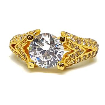 (1-3097-h5) Gold Overlay CZ Studded Solitaire Ring.