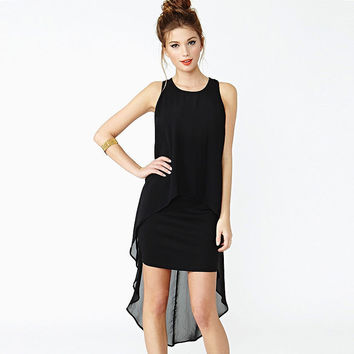 Black Sleeveless  Dovetail Chiffon Mini dress