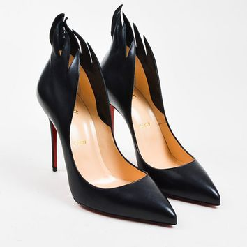 ONETOW Christian Louboutin Black Leather  Victorina  100mm Stiletto Pumps