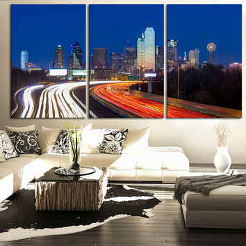 LARGE Wall Art Canvas Print Dallas at Night Skyline - Wall Art Canvas Dallas City Skyline at Night Large Canvas Art Paintings