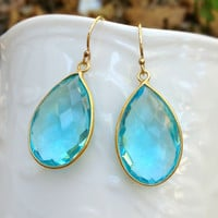 Blue Quartz Earrings, Bezel Gemston.. on Luulla