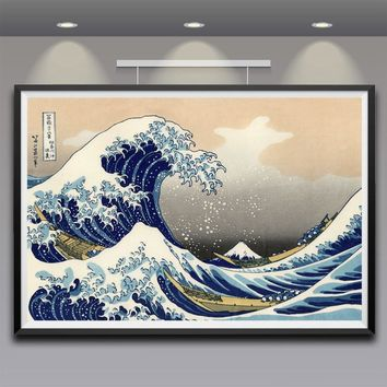 Artwork Painting Katsushika Hokusai Great Wave Off Kanagawa Views Of Mount Fuji Art Silk Poster Print Large Size Free Shipping
